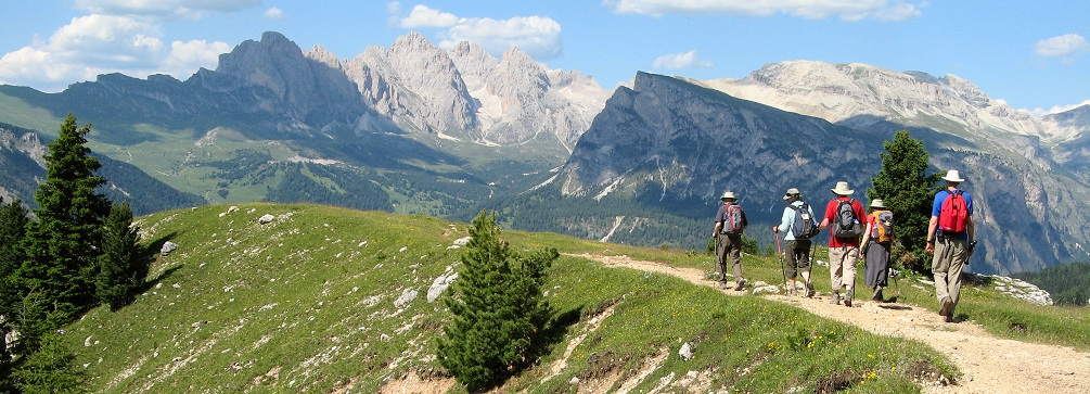 Hiking on Mont Seura, Val Gardena, Dolomites of Italy