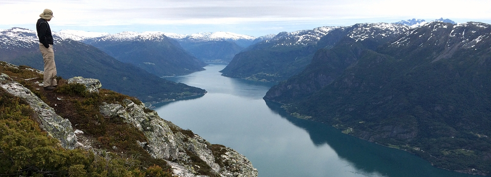Looking up the Lustrafjord from the summit of Molden, Norway
