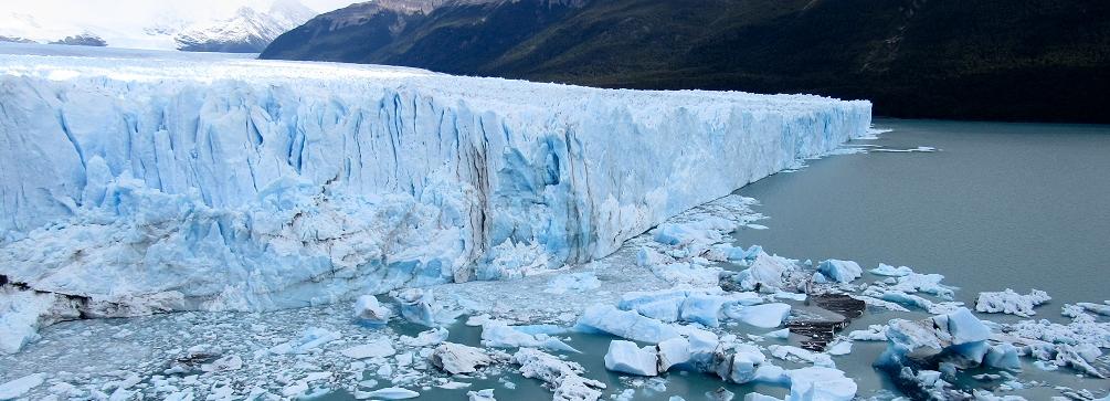 The face of the Perito Moreno Glacier west of El Calafate, Patagonia, Argentina