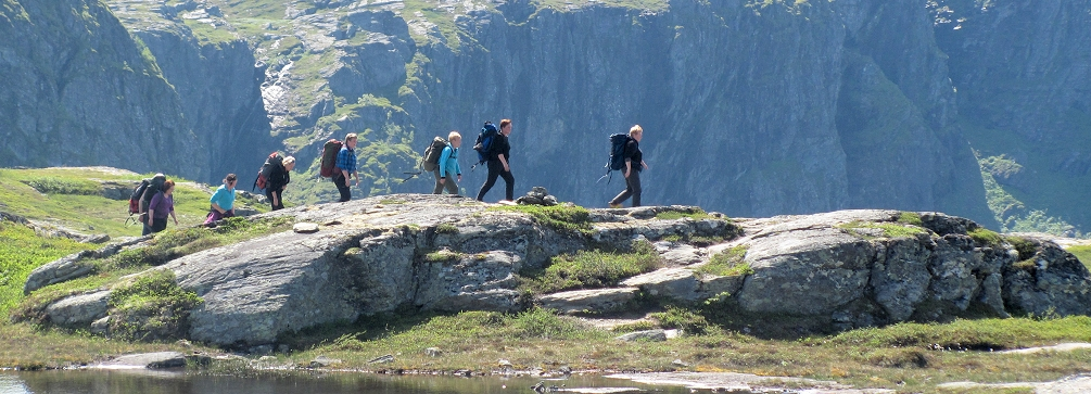 Hiking in the Hardangervidda National Park in the fjord country of western Norway