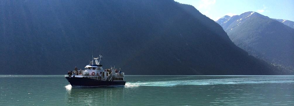 Ferry arriving at Mundal on the Fjaerlandsfjord, Sogn og Fjordane, Norway.
