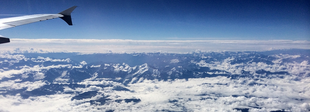 Overflying Mont Blanc and the French Alps.