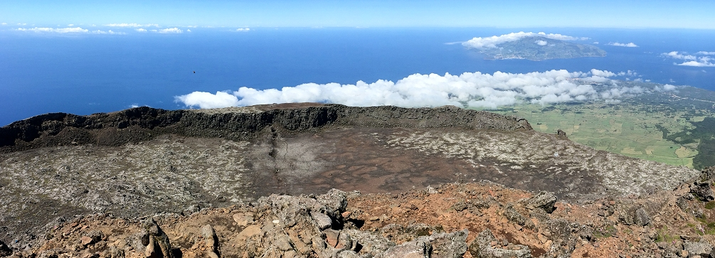 View from the summit of Pico volcano in the Azores with the island of Faial in the distance