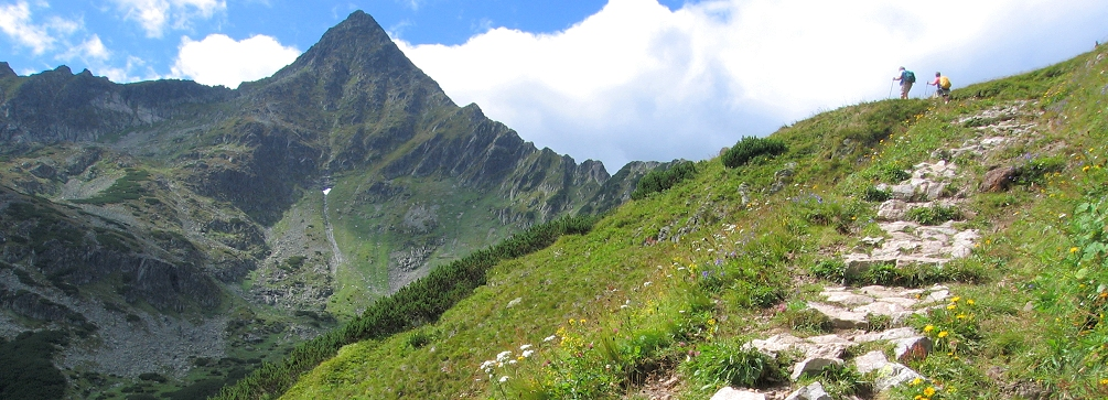 Crossing the pass of Kopske Sedlo in the White Tatras of Slovakia