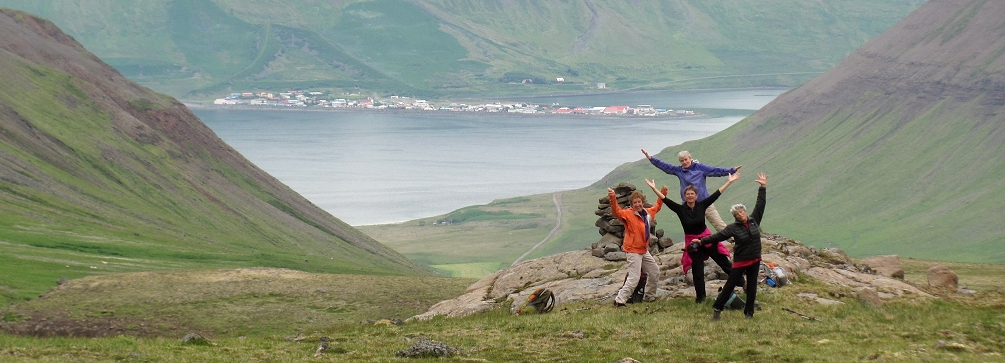 Hiking in the Westfjords near Flateyri, Iceland