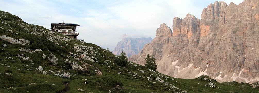 Sunset glow on Monte Civetta from Rifugio Tissi, Dolomites of Italy