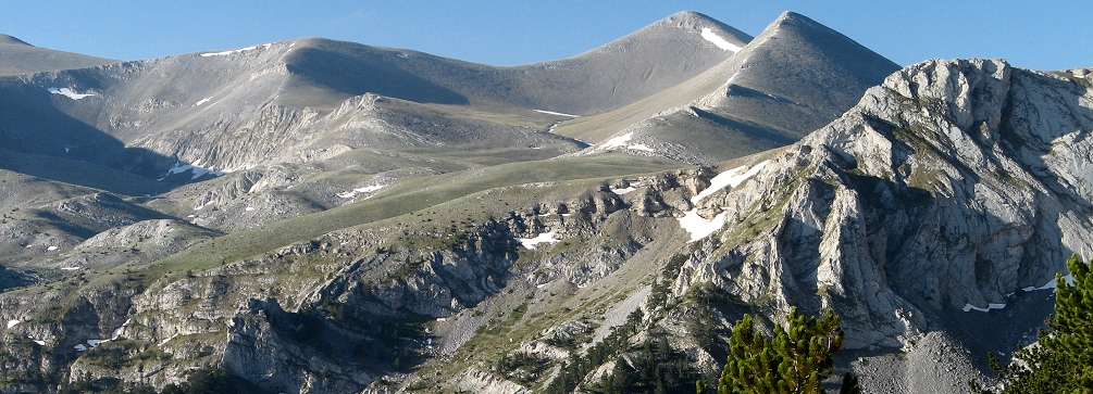 The Metamorfosi peak as seen from the trail to Mount Olympus, Greece