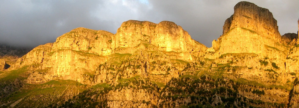 Late afternoon sunlight on the Pindhos Mountains, northern Greece