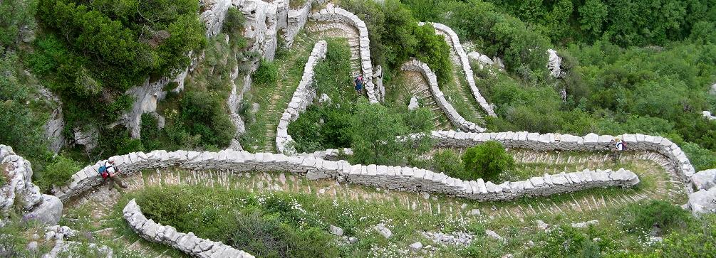 The spectacular Vradheto Steps near the village of Kapésovo, Zagori, northern Greece