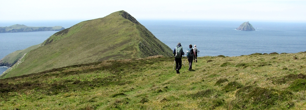 Hikers on Great Blasket Island off the Dingle Peninsula, County Kerry, Ireland