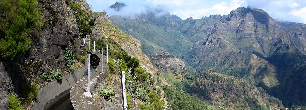 Typical Madeiran levada trail (Levada das Rabaças)