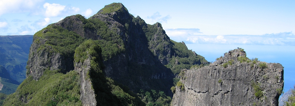 The high country of Madeira island on the trail from Pico Ruivo to Encumeada