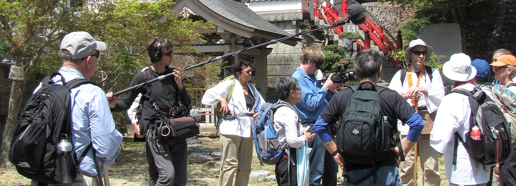 PBS film crew with Mountain Hiking Holidays group at Konsenji (Temple 3) on Shikoku, Japan