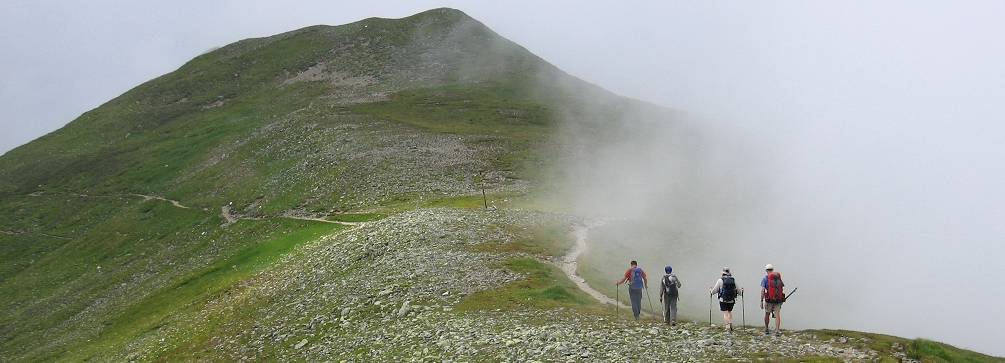 Hikers in the Bucegi Mountains, Romania