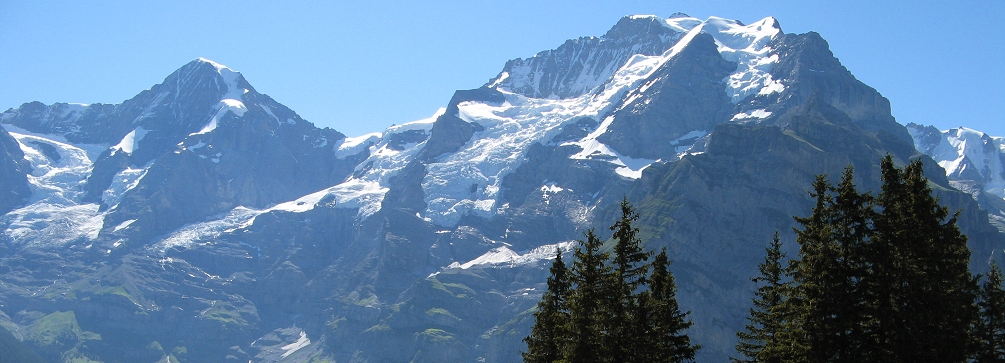 View of the Jungfrau from Sulwald above Isenfluh, Switzerland