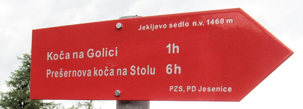 Trail sign in Slovenia above Vrsic Pass