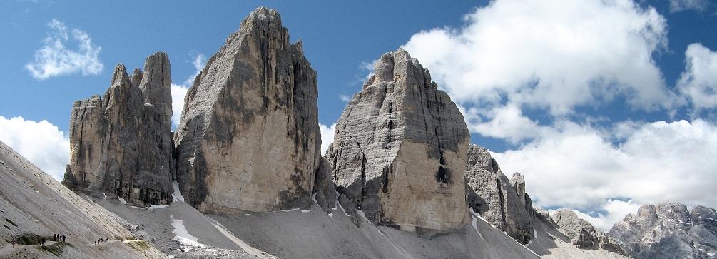 The Tre Cime di Lavaredo (Drei Zinnen) from Rifugio Locatelli, Dolomites of Italy